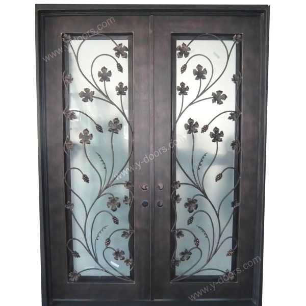 squre-hand-forged-wrought-iron-double-entry-door-sy-dr-m6050-stsp-