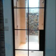 Iron French Door with Grill Window Design
