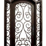 Single Wrought Iron Door with sidelight transom SY-SR-M6015-ETEP