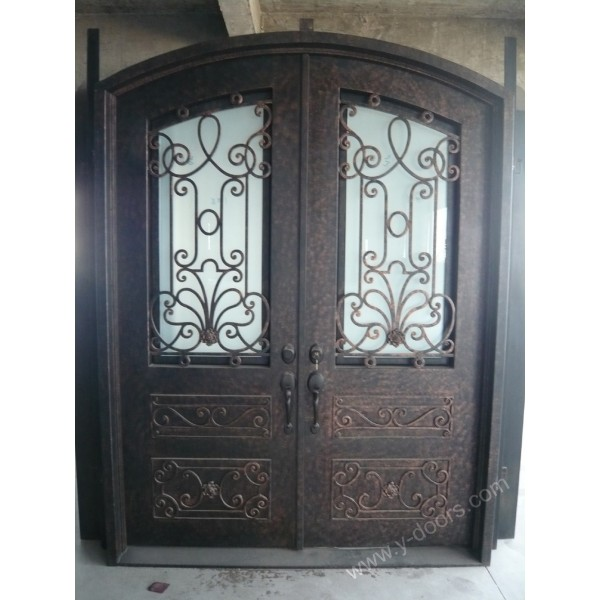 eyebrow-arch-hand-forged-wrought-iron-double-entry-door-sy-dr-m6056-etep-