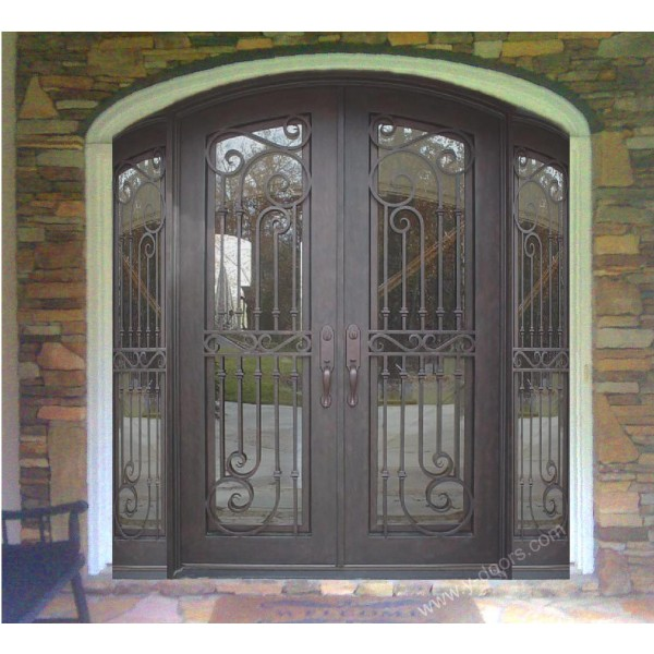 eyebrow-arch-hand-forged-wrought-iron-double-entry-door-with-sidelight-sy-dr-m6063-etep-