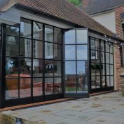 Matt Black Finished Wrought Iron Sliding Open Style French Door Design 3