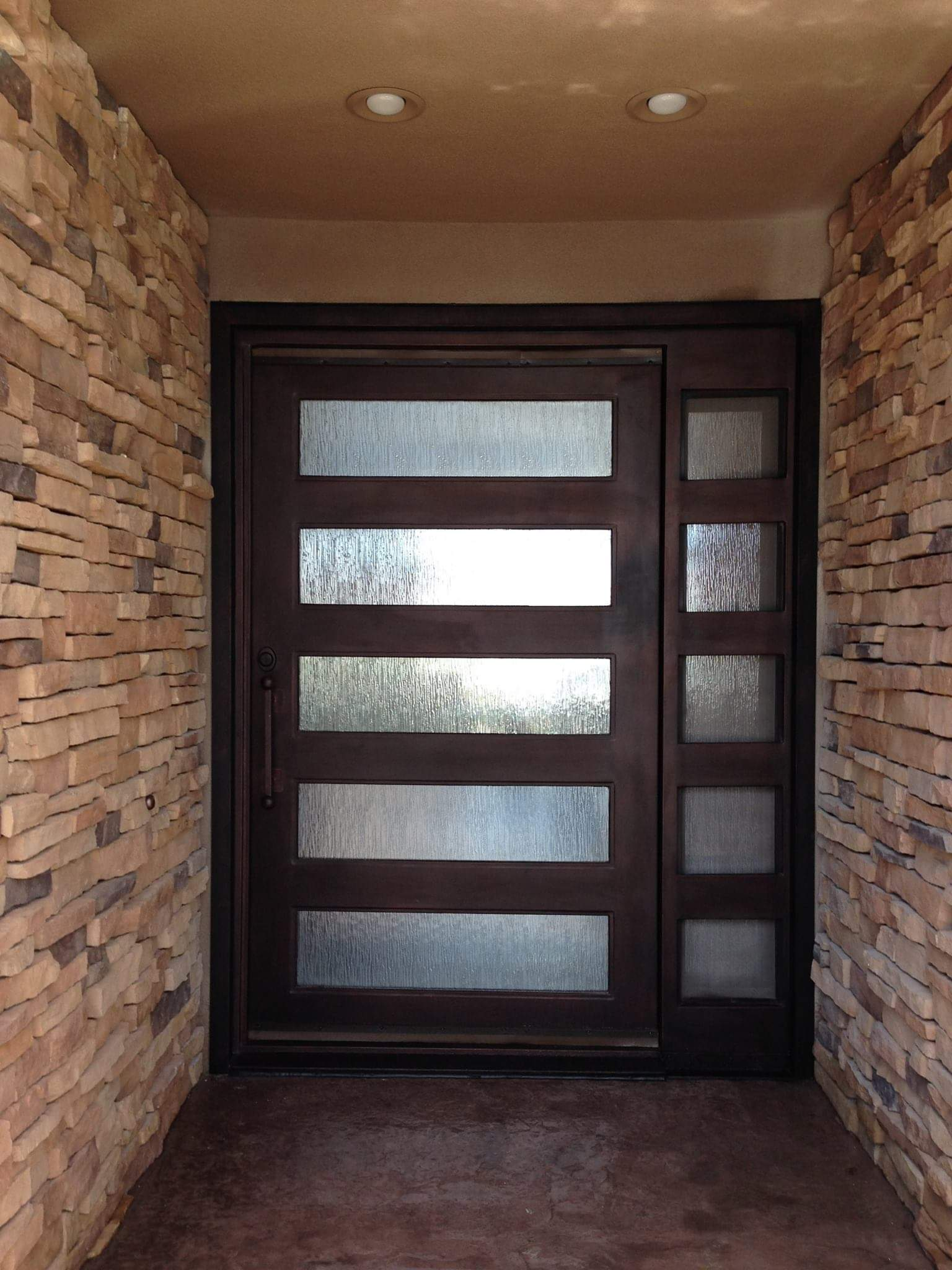 Modern Double Wrought Iron Entrance Door With Dark Copper Finished Y Doors